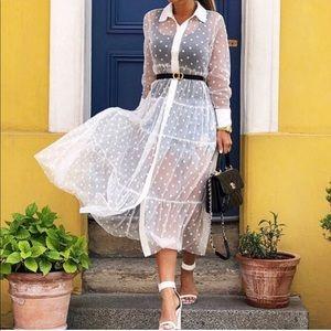 Tulle dot sheer dress